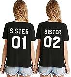 Sister T-Shirt Für 2 Mädchen Best Friends Shirt BFF Oberteile Beste Freunde Tops Damen Schwarz Weiß Baumwolle Schwester Geschenk 2 Stücke