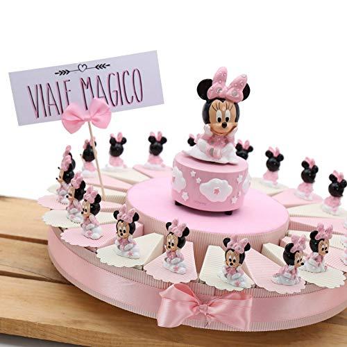 Vialemagico bomboniere disney minnie nascita battesimo 1 compleanno bimba torta statuina nuvola (torta 20 fettine)