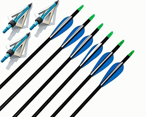 6pcs 32inch Fiberglass Arrows Fletched 2blue 1white Vanes Hunting Arrows with 100grain Blue 3blades Broadheads for Shooting and Targeting by IRQ