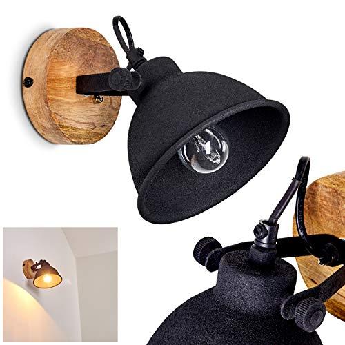 Aplique Svanfolk de metal y madera en negro/marrón, 1x E14, máx 25...