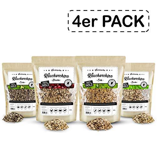 Räuchergarten Premium 4-er Set Räucherchips - 4 x 1 kg BBQ Mix (Eiche, Buche, Hickory, Erle) - nur 9,18 €/kg!!! - 100% natürliches Räucherholz