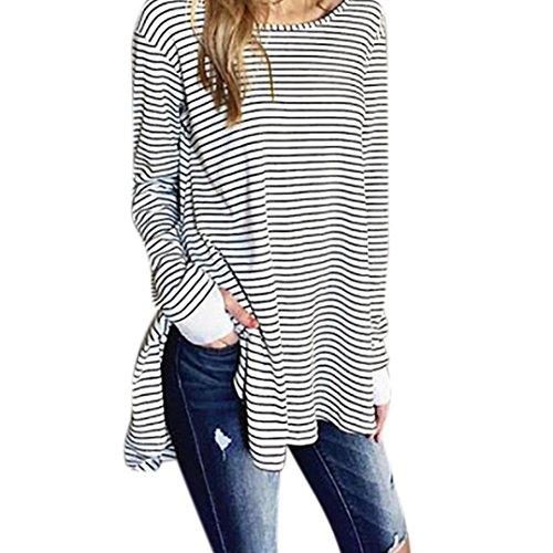 Damen Blusen Drucken Ronamick Frauen Plus Größe Tunika Lose Pullover Langarm Streifen Oberteile Split Shirt Tops Bluse (Weiß, L) (Tunika Größe Plus Drucken)