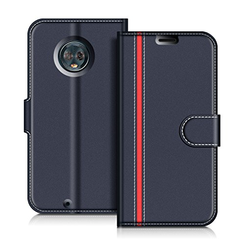 COODIO Motorola Moto G6 Hülle Leder Lederhülle Ledertasche Wallet Handyhülle Tasche Schutzhülle mit Magnetverschluss/Kartenfächer für Motorola Moto G6, Dunkel Blau/Rot