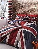 essere britannici e fiero con la più alta qualità di Catherine Lansfield Britain Parure di letto. Con il patriottica Union Jack e divertente slogan, questa parure di letto reversibile è sicura per abbellire il vostro camera. Lavabile in lavat...