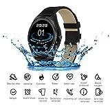JASZHAO Bluetooth Smartwatch, Wasserdicht/Anruferinnerung/Herzfrequenzerkennung/Schrittzähler/Music Player Smart Watch Men für IOS Android,A