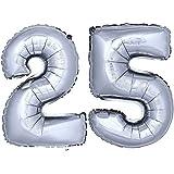 DEKOREX® Globo de la hoja 80 cm Balón de Helio Número de plata brillante argentado Decoración del globo del cumpleaños No 25