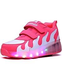 KODOO Rollschuhe Schuhe Mit Rollen Räder Kinderschuhe Led Flashing Farbwechsel Leuchtende Sportschuhe Turnschuhe Skateboard LED Lichter Blinken für Mädchen Damen