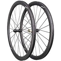 ICAN Ruedas de Carbono Aero 40 Disc Ruedas de Bicicleta de Carretera 40mm Clincher tubeless Ready