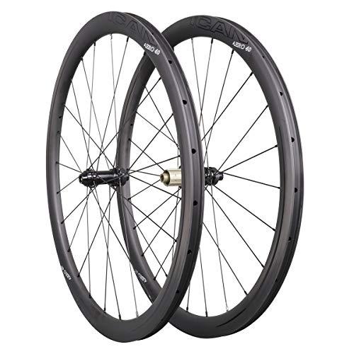 ICAN Ruedas de Carbono Aero 40 Disc Ruedas de Bicicleta de Carretera 40mm Clincher tubeless Ready Disco...
