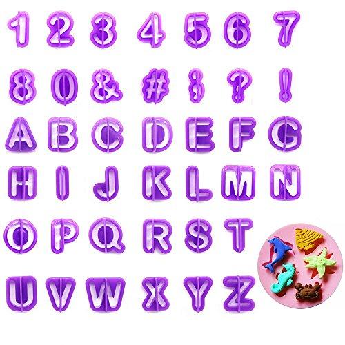 YIAN 40 teilig Ausstechformen Tortendeko Alphabet Zahlen Ausstecher Buchstaben mit eine Tier Ausstecher