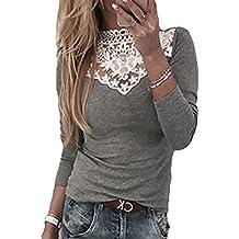 Hibote Mujer Camisa encaje Top mujeres Camisas Off Shoulder Blusas de manga larga Color sólido Slim