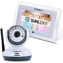 """SUNLUXY® Vigilabebés Monitor Inalámbrico con pantalla LCD de 7"""" Cámara inalámbrica 2.4GHz Visión Nocturna Bidireccional Seguridad para Bebé, Blanco + Gris"""