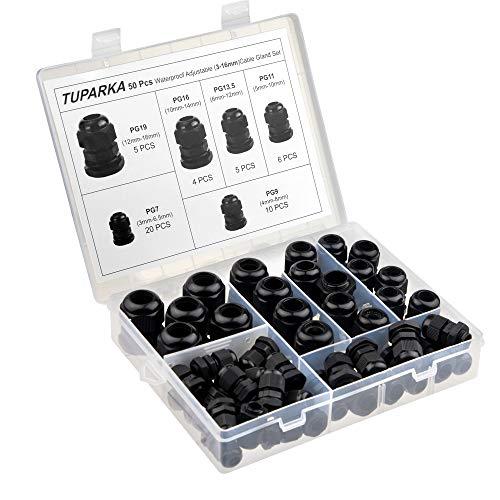 TUPARKA 50 Pack Kabelverschraubung Wasserdichte, einstellbare 3-16 mm Kabelanschlüsse PG7 PG9 PG11 PG13.5 PG16 PG19 Kunststoff-Kabelverschraubungen mit Dichtungen in PP-Box -