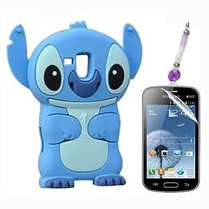 Bleu 3D Disney Stitch Étui Coque En Silicone pour Samsung Galaxy Trend GT-S7560 + Écran Protecter Film + Charme de téléphone