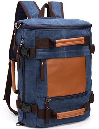 Aidonger Unisex Multifunktions Vintage Canvas and Leather Shoulder bag Travel Backpack (Dark blue)