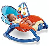 WonderKart Newborn to Toddler Portable & Folding Rocker cum Chair with Soothing Vibration - Blue