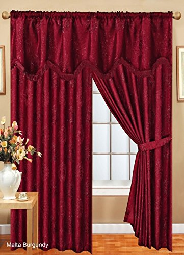 CURTAINS PAIR READY MADE JACQUARD GLITTERY STRIP PENCIL PLEAT WITH PELMET & TIE BACKS FULLY LINED (PELMET IS NOT ATTACHED WITH CURTAINS) MATCHING CUSHION COVERS AVAILABLE ( COLOUR BURGUNDY) (90″x90″)