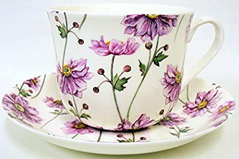 Japanese Anemone Breakfast Cup & Saucer Fine Bone China Large Anemone Cup & Saucer Hand Decorated in the U.K. Free UK Delivery by fromeuropewithlove