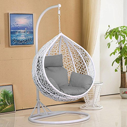 Monumart Outdoor/Indoor Rattan Wicker Swing Chair Hanging Hammock Chair W/Cushion&Stand&Cover