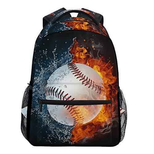 Oarencol Fashion Baseball-Rucksäcke mit Wasserfeuer, Sport-Rucksack, lustiger Softball-Schule, Reisen, Buch, College, Schultertasche für Damen, Mädchen, Herren und Jungen (Softball-rucksäcke)