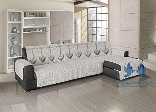 Copridivano trapuntato per divani con penisola disegno cuore appeso 190-195 cm beige