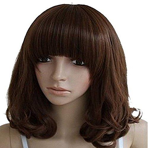 drasawee Femme Taille M Longueur Bob cheveux bouclés charmant Costume Party complet Perruques