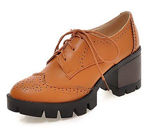 AgooLar Femme Lacet Rond à Talon Correct Pu Cuir Couleur Unie Chaussures Légeres Jaune