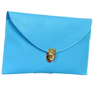 Ardisle Ladies Large Leather Style Envelope Evening Clutch Bag Women Wedding Purse Chain (Blue)