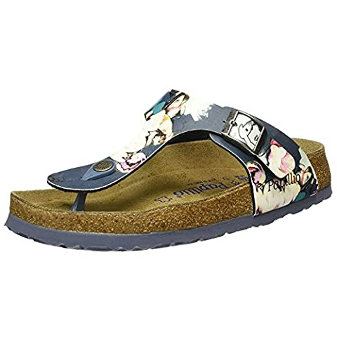 Papillio Womens by Birkenstock Gizeh Painted Bloom Navy Synthetic Sandals 40 EU
