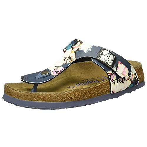 Papillio Womens by Birkenstock Gizeh Synthetic Sandals Painted Bloom Navy
