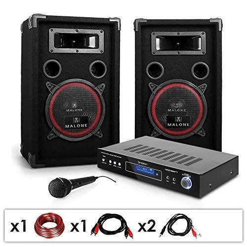 AUNA DJ set 'DJ-10' impianto audio completo (2 casse AUNA diffusori 1000 Watt totali, 1 amplificatore AUNA finale di potenza, 1 microfono, cavi per collegamento)