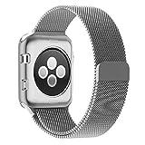 Cinturino e Custodia Apple Watch 2 38mm, Zyra Cinturino in Acciaio Inossidabile Band Loop Milanese con Chiusura Magnetica per Apple Watch Series 2, Series 1 Argento immagine