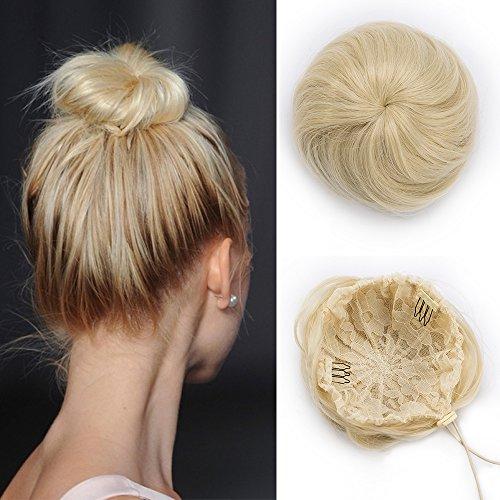 Extension capelli finti lisci chignon con clip cordicella elastico hair bun toupet donna coda di cavallo accessori posticci parrucchino 45g - biondo chiarissimo