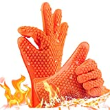 SMILE Silicone BBQ Gloves Waterproof Oven Mitts 1 Pair{2 PCS}