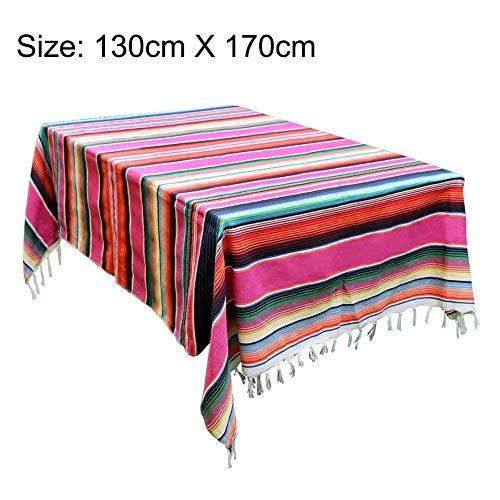 bestlle gestreifte Tischdecke mexikanische Decke Bettdecke Outdoor Tischdecke Tapisserie Picknickmatte für mexikanische Hochzeit Party Dekor, 130 * 170-Rose Red (Tischdecke Dekor)