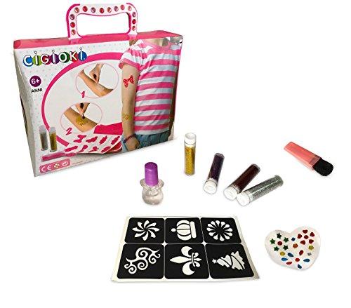 Media wave store kit glitter tattoo cigioki 341049 per bambini con stancil e glitter colorati
