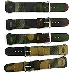 Military Army Green Fabric Canvas Watch Band Strap 18mm Assorted Designs
