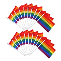 Haobase 20 Pack Gay Pride Rainbow Flag Lesbian Peace LGBT Rainbow Flag Banner for Pride Festival Carnival