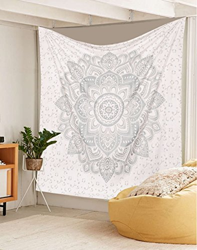 "\'Exklusiver Twin Ombre Wandteppich Metallgewebe \""Flower Ombre Betten, Mandala Wandteppich, Multi Farbe indischen Mandala Wall Art Hippie Bohemian Tagesdecke zum Aufhängen von Sophia Art silber"