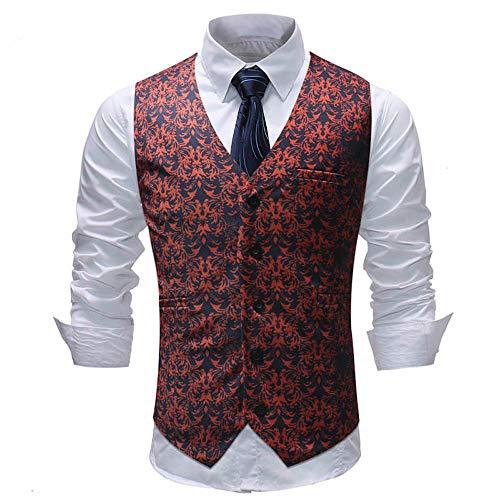 Sannysis Anzugweste Herren Herbst Winter Freizeit Bunter Druck Anzug Weste Slim Fit Elegant Weste Jacke Suits