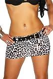 Arunta Minirock sexy kurz Elasthan mit Gürtel zum abnehmen in 3 Größen 36 38 40 (M 38, Schwarz Weiß)