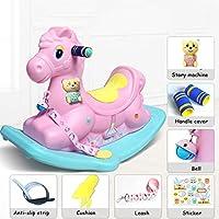 Rocking chair Silla Mecedora de plástico para niños, cojín Grande con Etiquetas de Storyboard y Cojines (Color : Pink, Tamaño : B)