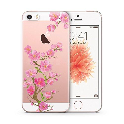 Cujas®   Transparent Silikon Weich Premium TPU Schutzhülle Blume Flower (iPhone 5 / 5S / SE Blumen 3) - Iphone 5 Cover Rosa