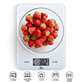 Uten Kitchen - Báscula Digital para pesaje de Alimentos con Plataforma de Cristal Templado y botón táctil y batería incluida, Color Blanco, 23 cm x 17 cm