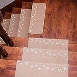 5PCS Luminous tappeti per scale, tappetino antiscivolo autoadesivo sticker moquette scale bambini blocchi di sicurezza, decorazione casa, 55* 22* 4.5cm, beige