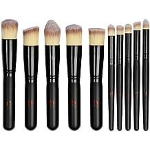 JstBest Hermoso conjunto de 10 brochas de maquillaje para el rostro, ojos y labios - Calidad profesional - Estuche incluído