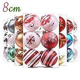 Valery Madelyn 6 Stücke 8CM Weihnachtskugeln Kunststoff Weiß Rot Christbaumkugeln mit Aufhänger Weihnachtsbaumschmuck Weihnachten Dekoration