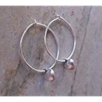 Tiny Silver Hearts On Silver Hoop Earrings