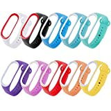 Zacro-Xiaomi-Mi-Band-3-Armband-10-stcke-Mode-Silikon-Ersatz-Armband-Schwarz-Rosa-Wei-Rot-Orange-Grn-Blau-Gelb-Lila-Blau