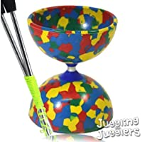 Rainbow Jester Multi-Coloured Diabolo + Aluminium metal handsticks + Pro-string